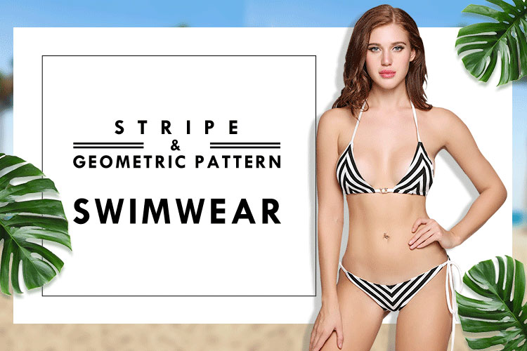 strip geometric swimwear